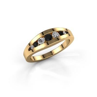 Ring Oneida 375 goud zwarte diamant 0.398 crt