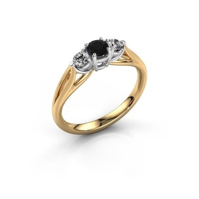 Verlovingsring Amie RND 585 goud zwarte diamant 0.56 crt