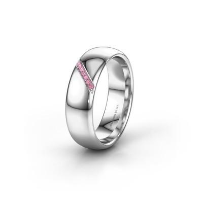Trouwring WH0164L36B 950 platina roze saffier ±6x2 mm