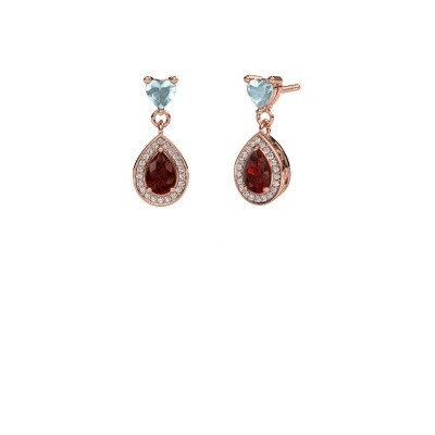 Picture of Drop earrings Susannah 375 rose gold garnet 6x4 mm