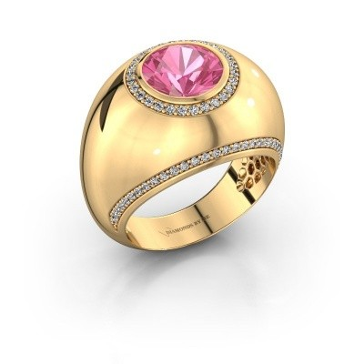 Ring Roxann 375 goud roze saffier 8 mm