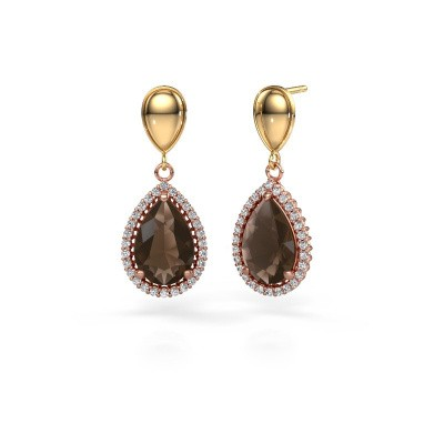 Drop earrings Cheree 1 585 rose gold smokey quartz 12x8 mm