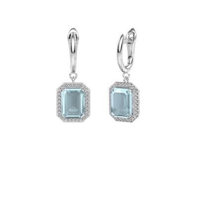 Drop earrings Dodie 1 950 platinum aquamarine 9x7 mm