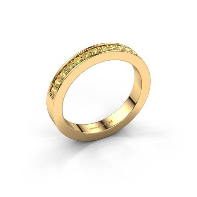 Stackable ring Loes 6 375 gold yellow sapphire 1.7 mm