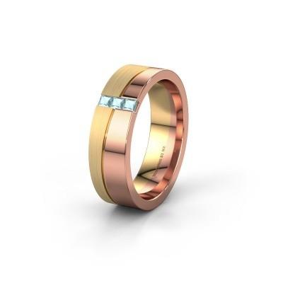 Trouwring WH0906L16A 585 rosé goud aquamarijn ±6x1.7 mm