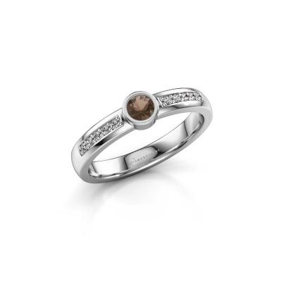 Engagement ring Ise 2 585 white gold smokey quartz 3.7 mm