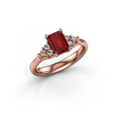 Foto van Verlovingsring Monika EME 375 rosé goud robijn 7x5 mm
