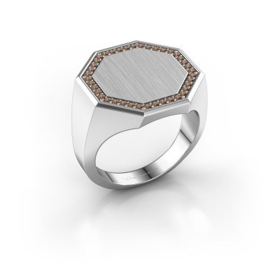 Heren ring Floris Octa 4 950 platina bruine diamant 0.30 crt