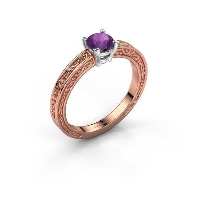 Verlovingsring Claudette 1 585 rosé goud amethist 5 mm