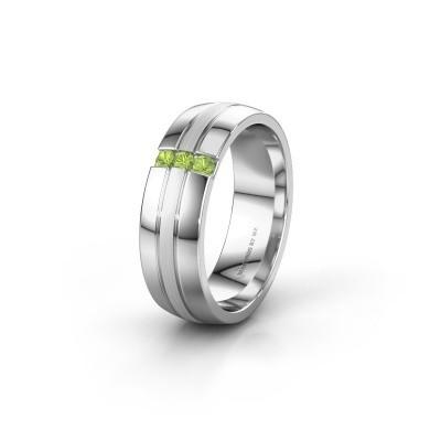 Wedding ring WH0426L26A 585 white gold peridot ±6x1.7 mm