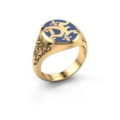 Monogram ring Brian Emaille 585 goud blauwe emaille