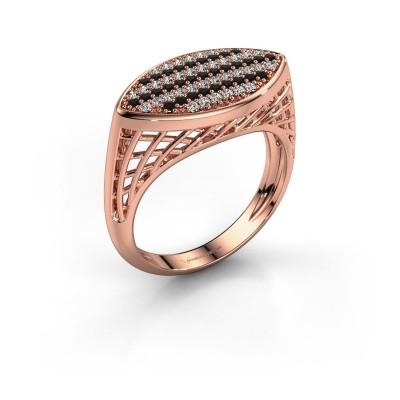 Foto van Ring Mireille 375 rosé goud zwarte diamant 0.489 crt