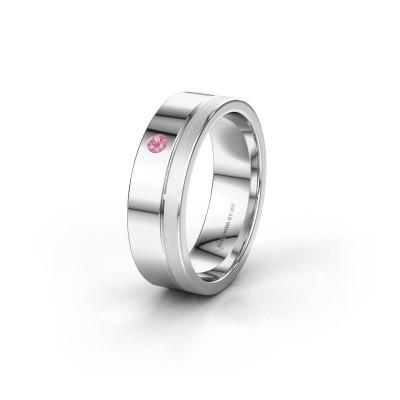 Trouwring WH0301L16APM 585 witgoud roze saffier ±6x1.7 mm
