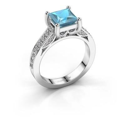 Foto van Verlovings ring Feline 585 witgoud blauw topaas 6.5 mm