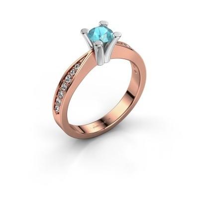 Promise ring Ichelle 2 585 rosé goud blauw topaas 4.7 mm