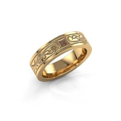 Men's ring Matijs 375 gold brown diamond 0.17 crt