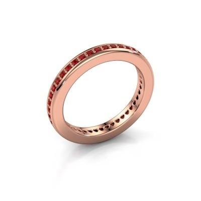 Aanschuifring Elvire 3 375 rosé goud robijn 1.3 mm