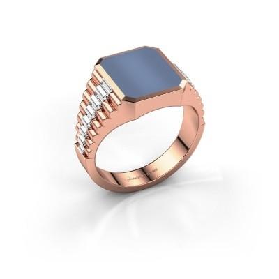 Foto van Rolex stijl ring Brent 2 585 rosé goud licht blauwe lagensteen 12x10 mm