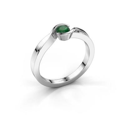 Foto van Ring Lola 585 witgoud smaragd 4 mm