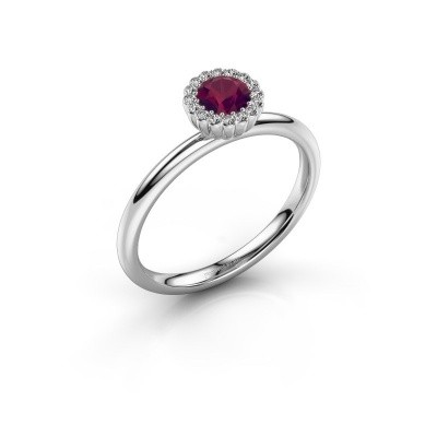Engagement ring Queen 585 white gold rhodolite 4.2 mm