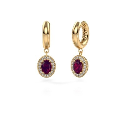 Drop earrings Annett 585 gold rhodolite 7x5 mm