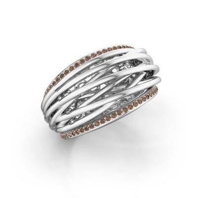 Foto van Ring Kirstin 925 zilver bruine diamant 0.27 crt
