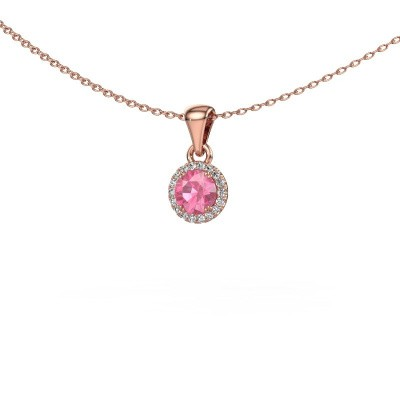 Hanger Seline rnd 375 rosé goud roze saffier 4.7 mm
