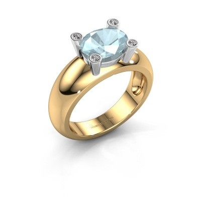 Ring Tamara OVL 585 goud aquamarijn 9x7 mm