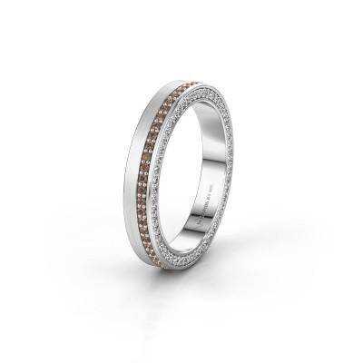 Trouwring WH2214L15BM 925 zilver bruine diamant 0.55 crt ±5x2 mm