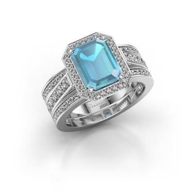 Foto van Ring Dodie 3 950 platina blauw topaas 9x7 mm