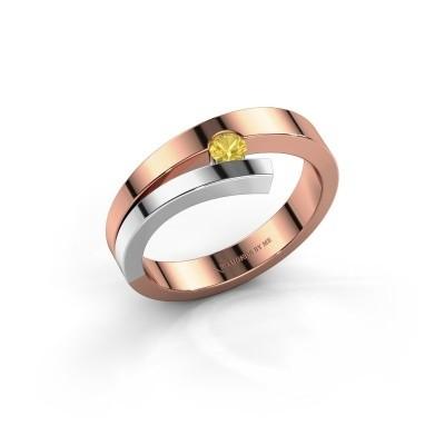 Foto van Ring Rosario 585 rosé goud gele saffier 3 mm