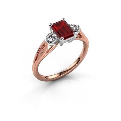 Verlovingsring Amie EME 585 rosé goud robijn 7x5 mm