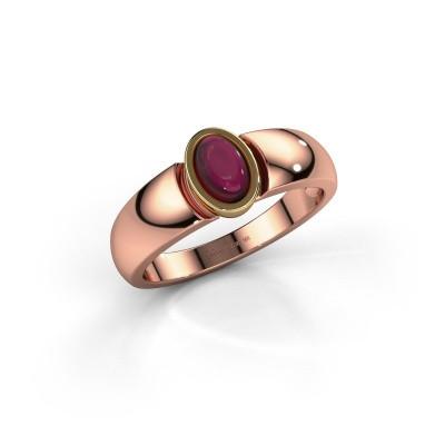 Ring Tonneke 585 rosé goud granaat 6x4 mm