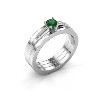 Verlobungsring Celeste 950 Platin Smaragd 4 mm