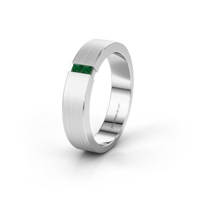 Wedding ring WH2136M15E 925 silver emerald ±5x2.4 mm