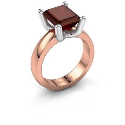 Ring Clelia EME 585 rosé goud granaat 10x8 mm