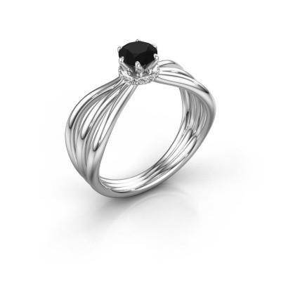 Bague de fiançailles Kimi 585 or blanc diamant noir 0.60 crt