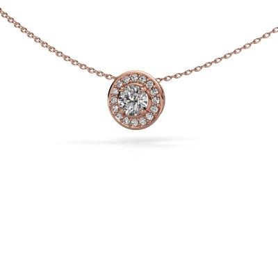 Foto van Hanger Agaat 375 rosé goud diamant 0.66 crt
