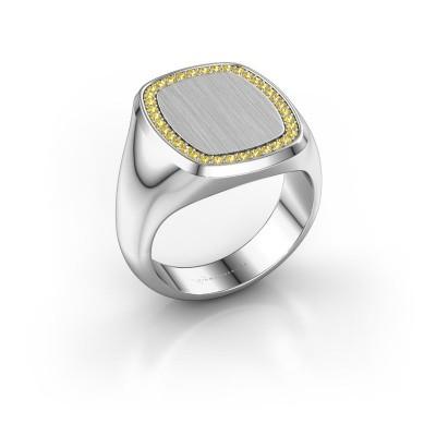 Heren ring Floris Cushion 4 950 platina gele saffier 1.2 mm
