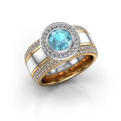 Foto van Ring Roxie 585 witgoud blauw topaas 6.5 mm