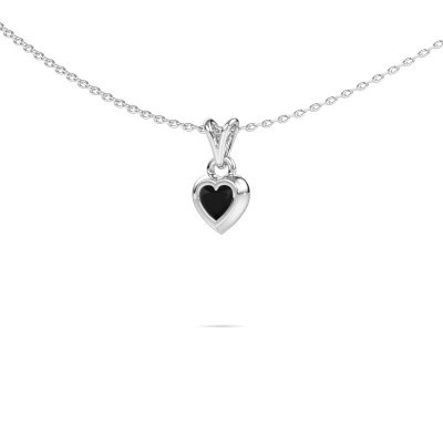 Foto van Hanger Charlotte Heart 375 witgoud zwarte diamant 0.30 crt
