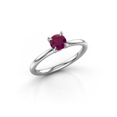 Picture of Engagement ring Crystal RND 1 925 silver rhodolite 5 mm
