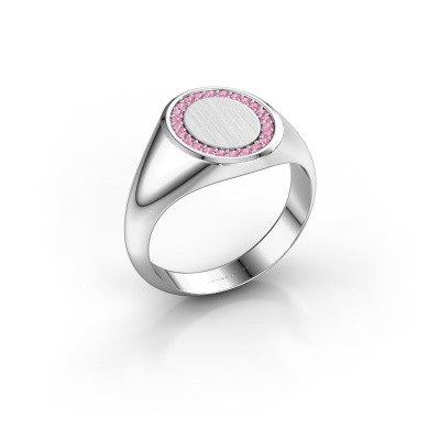 Men's ring Floris Oval 2 585 white gold pink sapphire 1.2 mm