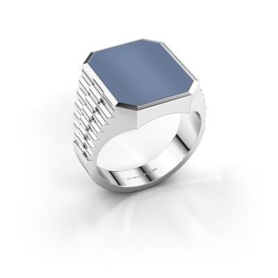 Foto van Rolex stijl ring Brent 4 585 witgoud licht blauwe lagensteen 16x13 mm
