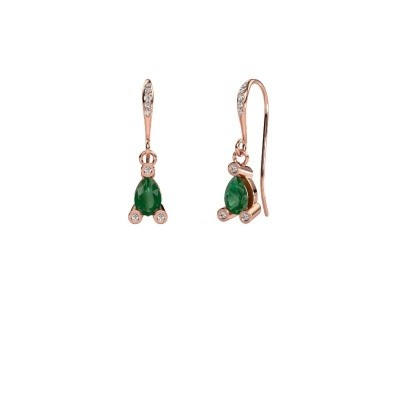 Picture of Drop earrings Bunny 2 375 rose gold emerald 7x5 mm