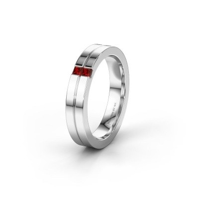 Wedding ring WH0225L14B 585 white gold garnet ±0.16x0.08 in