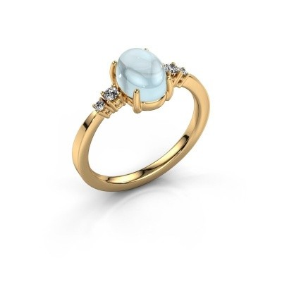 Ring Jelke 585 goud aquamarijn 8x6 mm