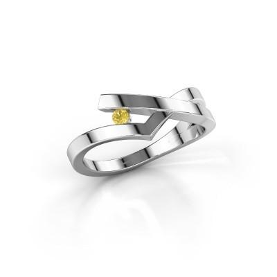 Ring Pamella 585 witgoud gele saffier 2.2 mm