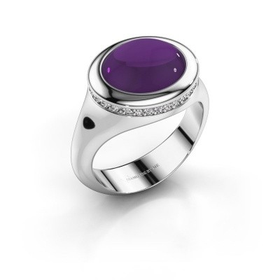 Picture of Ring Lesli ovl 750 white gold amethyst 12x10 mm