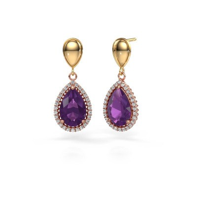 Drop earrings Cheree 1 585 rose gold amethyst 12x8 mm